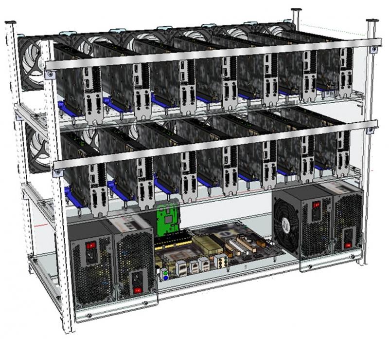 ریگ ماینینگ 12Riser+CPU G4400 + 8GB Ram + Asus B250 Mining + Frame + 300 +1800Watt Power